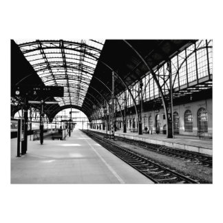 Train station black and white photo poster