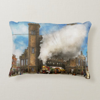 Train Station - Boston & Maine Railroad Depot 1910 Decorative Pillow