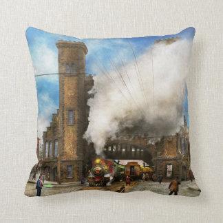 Train Station - Boston & Maine Railroad Depot 1910 Throw Pillow