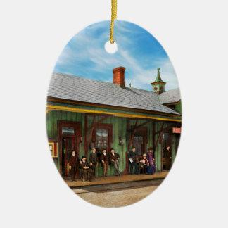 Train Station - Garrison train station 1880 Ceramic Oval Ornament