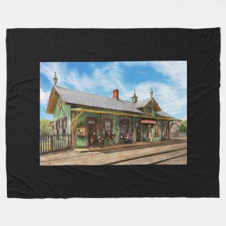 Train Station - Garrison train station 1880 Fleece Blanket