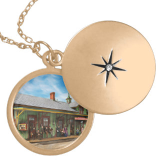 Train Station - Garrison train station 1880 Gold Plated Necklace