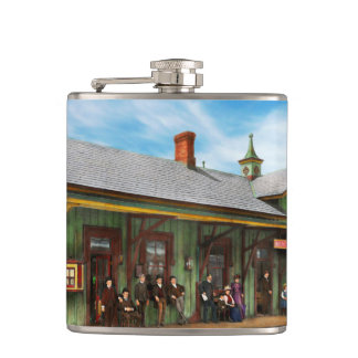 Train Station - Garrison train station 1880 Hip Flask