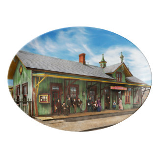 Train Station - Garrison train station 1880 Porcelain Serving Platter