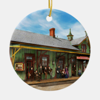 Train Station - Garrison train station 1880 Round Ceramic Ornament