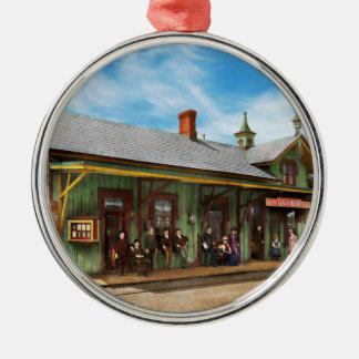 Train Station - Garrison train station 1880 Silver-Colored Round Ornament