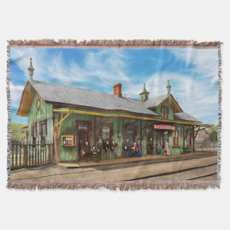 Train Station - Garrison train station 1880 Throw Blanket