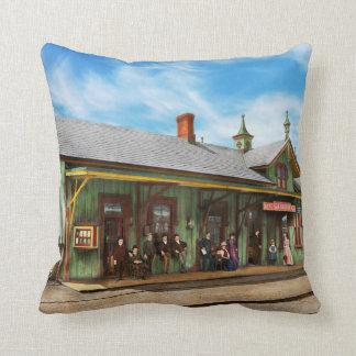Train Station - Garrison train station 1880 Throw Pillow