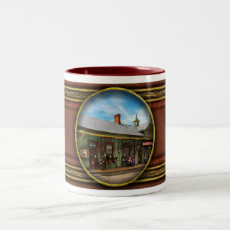 Train Station - Garrison train station 1880 Two-Tone Coffee Mug
