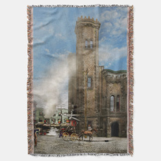 Train Station - Look out for the train 1910 Throw Blanket