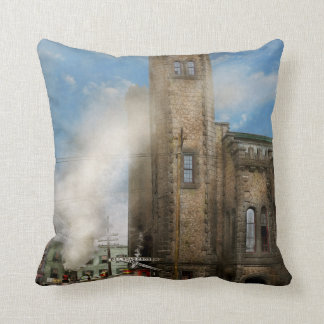 Train Station - Look out for the train 1910 Throw Pillow
