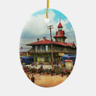 Train Station - Louisville and Nashville Railroad Ceramic Oval Ornament