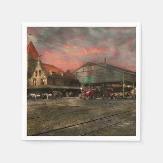 Train Station - NY Central Railroad depot 1905 Disposable Napkin