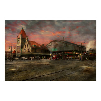 Train Station - NY Central Railroad depot 1905 Perfect Poster