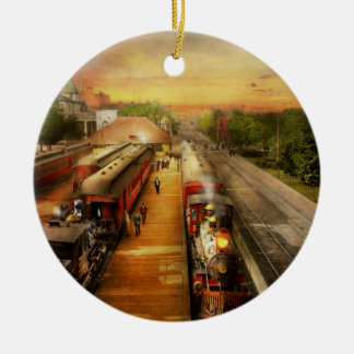 Train Station - The romance of the rails 1908 Ceramic Ornament