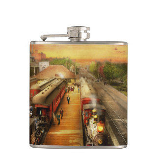 Train Station - The romance of the rails 1908 Hip Flask