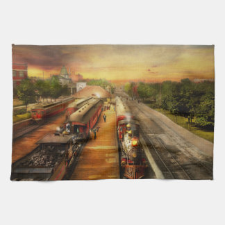Train Station - The romance of the rails 1908 Kitchen Towel