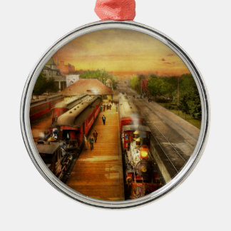 Train Station - The romance of the rails 1908 Metal Ornament