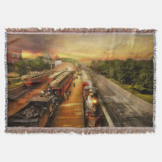 Train Station - The romance of the rails 1908 Throw Blanket