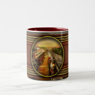 Train Station - The romance of the rails 1908 Two-Tone Coffee Mug