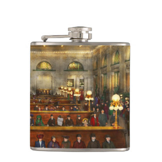 Train Station - Waiting in Grand Central 1904 Hip Flask