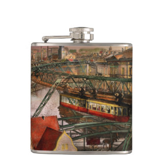 Train Station - Wuppertal Suspension Railway 1913 Hip Flask