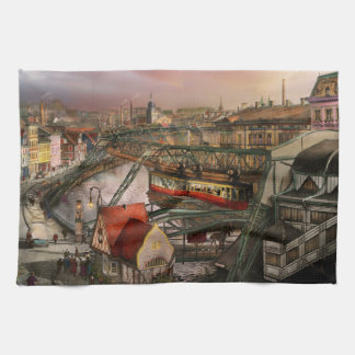 Train Station - Wuppertal Suspension Railway 1913 Kitchen Towel