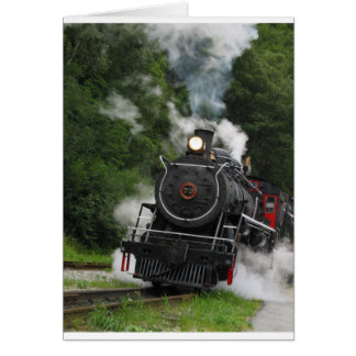 train steam rail railway station engine rails art greeting card
