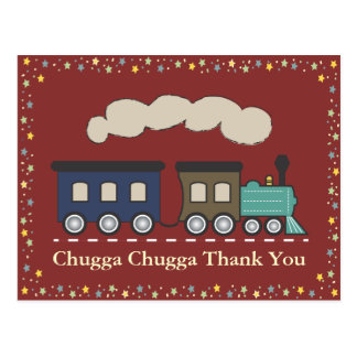 Train Thank You Postcard - Red