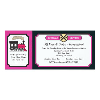 Train Ticket Birthday Party - Pink and Back Card