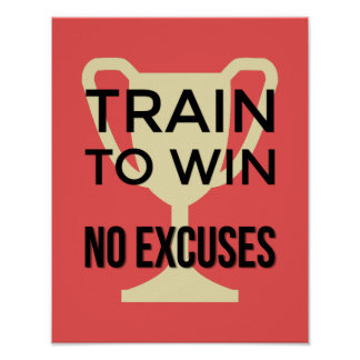 Train to win red sports motivational poster