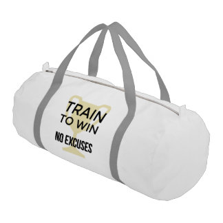 Train to win sports motivational slogan gym bag