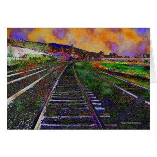 Train Tracks Orange Sky Card