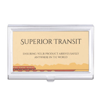 Train Transit in Sunset Colors Business Card Holder