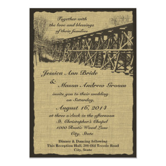 Train Trestle Rustic Wedding Card