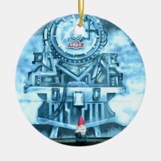 Train Tunnel Gnome Round Ceramic Ornament