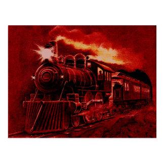 Train victorien magique de machine à vapeur carte postale
