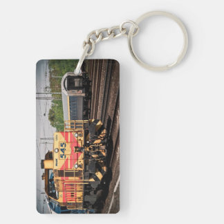 Train Yard Engine Double-Sided Rectangular Acrylic Keychain