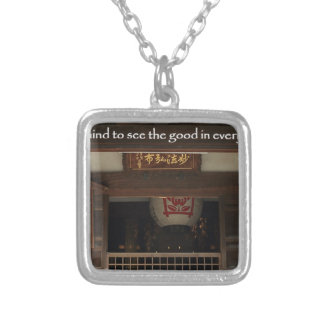 Train your mind to see the good in every situation silver plated necklace