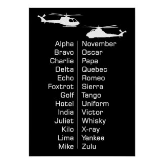 Trainee Cadet Helicopter Pilot Phonetics Chart Poster