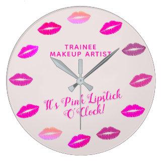 Trainee Makeup Artist Pink Lipstick Wall Clock