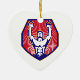 Training Athlete Rings Retro Ceramic Heart Ornament