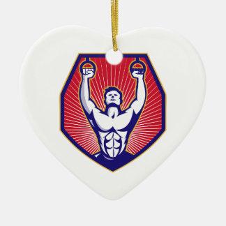Training Athlete Rings Retro Ceramic Ornament