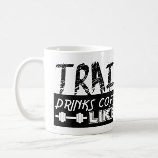 Trains Like A Peon Drinks Coffee Like A Boss Mugs