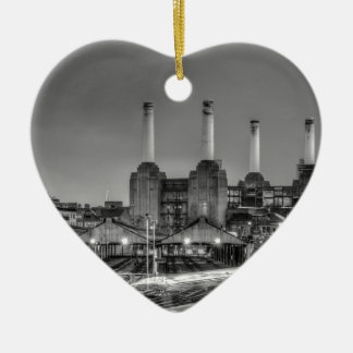 Trains pass Battersea Power Station, London Ceramic Heart Ornament