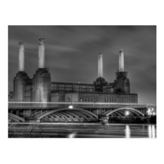 Trains pass Battersea Power Station, London Postcard