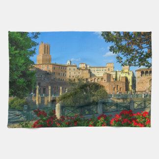 Trajan's forum, Traiani, Roma, Italy Kitchen Towel