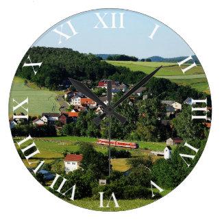 Tramcar in Niederwetter Large Clock
