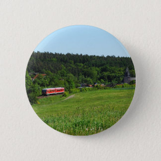 Tramcar with meadow field 2 inch round button