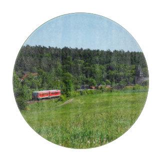 Tramcar with meadow field cutting board